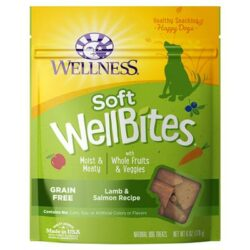 Front of packaging for Wellness Soft WellBites Lamb and Salmon Treats 6 oz